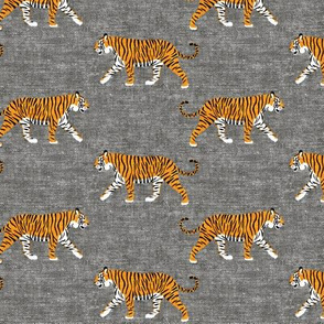 walking tigers on grey (woven)