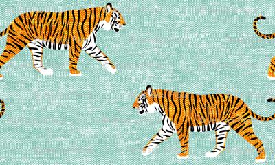 walking tiger on dark mint (woven)
