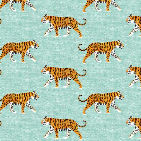 walking tiger on dark mint (woven) fabric by littlearrowdesign on Spoonflower - custom fabric
