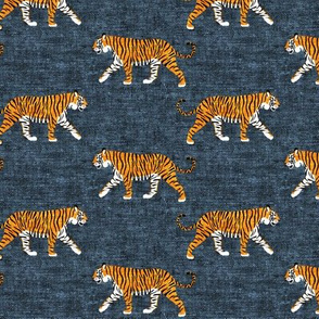 walking tiger on blue (woven)