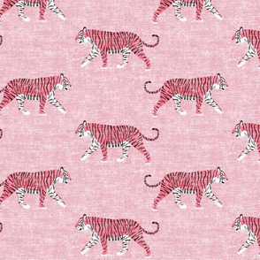 walking tigers on pink (woven)