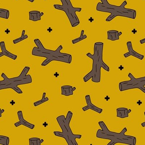 Log of wood print for woodland and tree lovers mustard yellow