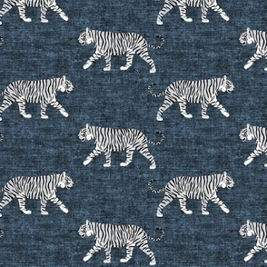 white walking tiger on blue (woven)