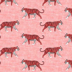walking tiger on dark coral (woven)