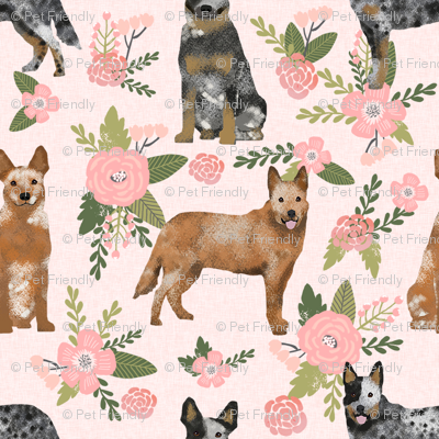 australian cattle dog pet quilt d cheater quilt florals coordinate fabric