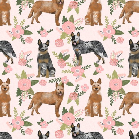 australian cattle dog pet quilt d cheater quilt florals coordinate fabric fabric by petfriendly on Spoonflower - custom fabric