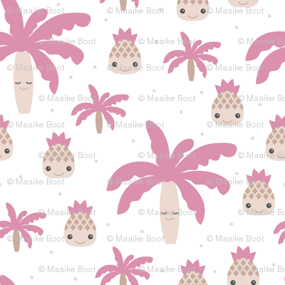 Cute summer spring kawaii tropical island palm trees and pineapples kids design soft pink XXL