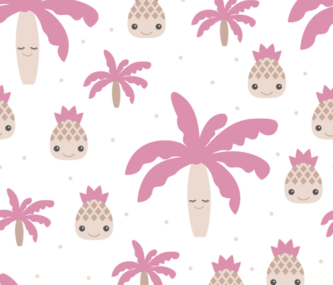 Cute summer spring kawaii tropical island palm trees and pineapples kids design soft pink XXL fabric by littlesmilemakers on Spoonflower - custom fabric