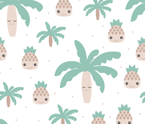 Cute summer spring kawaii tropical island palm trees and pineapples kids design soft mint XXL Jumbo fabric by littlesmilemakers on Spoonflower - custom fabric