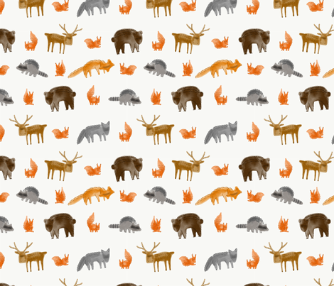 Forest Creatures light fabric by bezzikapa on Spoonflower - custom fabric