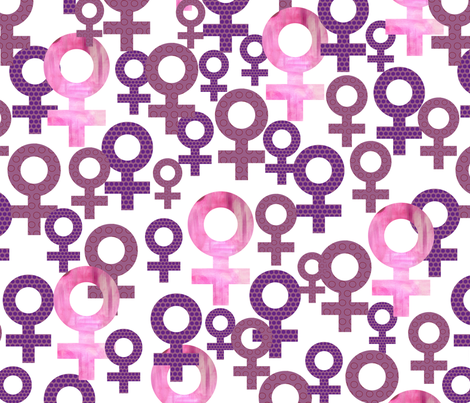 Sisterhood icons geometric women symbols purple and pink fabric by maredesigns on Spoonflower - custom fabric