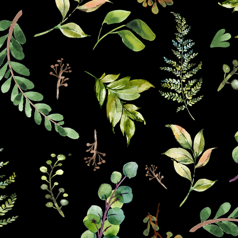 """18"""" Cub and Leaves Mix and Match - Black fabric by shopcabin on Spoonflower - custom fabric"""