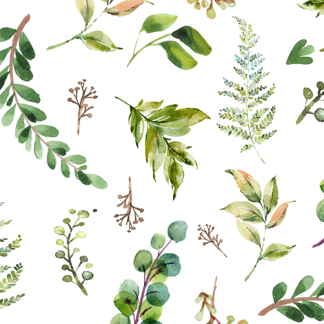 """18"""" Cub and Leaves Mix and Match - White fabric by shopcabin on Spoonflower - custom fabric"""