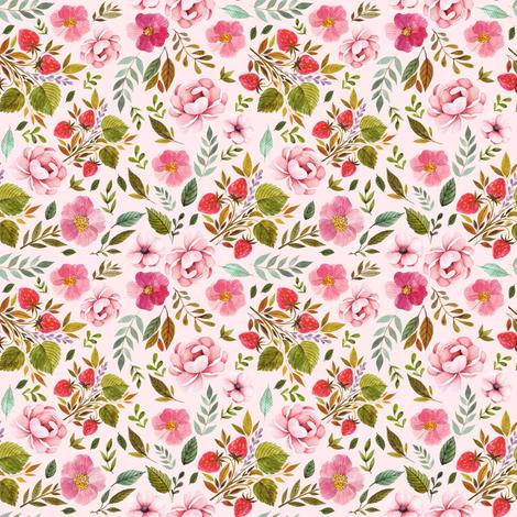 "4"" Strawberry Fields - Blush fabric by shopcabin on Spoonflower - custom fabric"