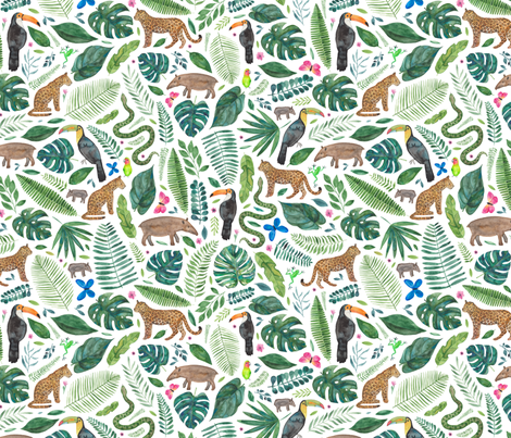 Rainforest or Jungle print fabric by elena_o'neill_illustration_ on Spoonflower - custom fabric