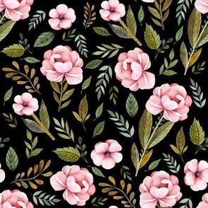 "8"" Strawberry Fields Roses - Black"