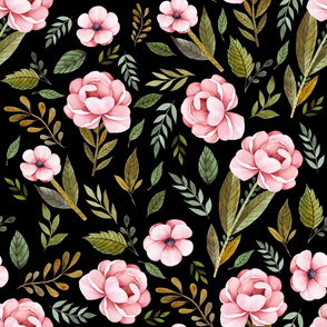 "36"" Strawberry Fields Roses - Black"