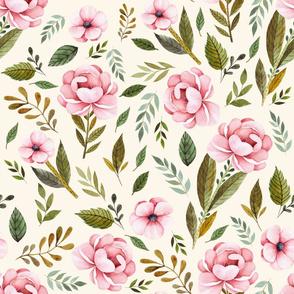 "21"" Strawberry Fields Roses - Ivory"