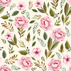 "36"" Strawberry Fields Roses - Ivory"