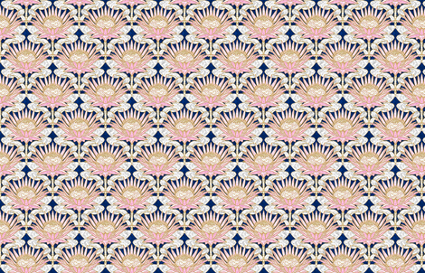 Blush King Protea Art Deco (midnight) smaller fabric by helenpdesigns on Spoonflower - custom fabric