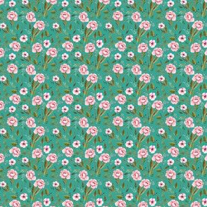 """1.5"""" Strawberry Fields Roses - Muted Teal"""