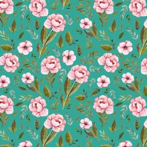 """4"""" Strawberry Fields Roses - Muted Teal"""
