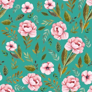 """8"""" Strawberry Fields Roses - Muted Teal"""