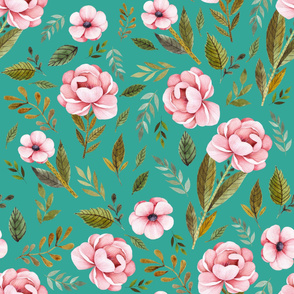 """36"""" Strawberry Fields Roses - Muted Teal"""