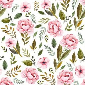 "8"" Strawberry Fields Roses - White"