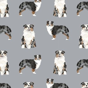australian shepherd blue merle dog fabric simple grey