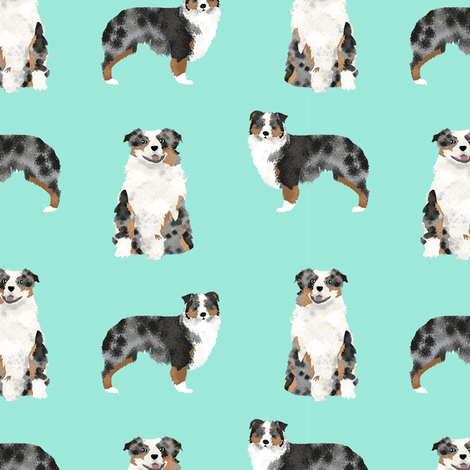 Australian Shepherd Blue Merle Dog Fabric Simple Blue