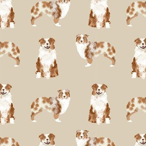 australian shepherd red merle dog fabric simple beige