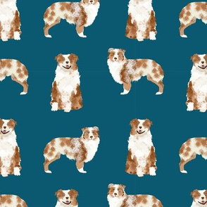australian shepherd red merle dog fabric simple navy