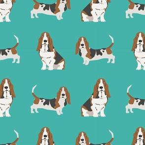 basset hound dog fabric simple teal