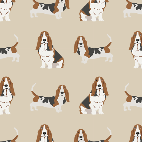 basset hound dog fabric simple beige fabric by petfriendly on Spoonflower - custom fabric