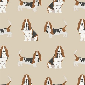 basset hound dog fabric simple beige