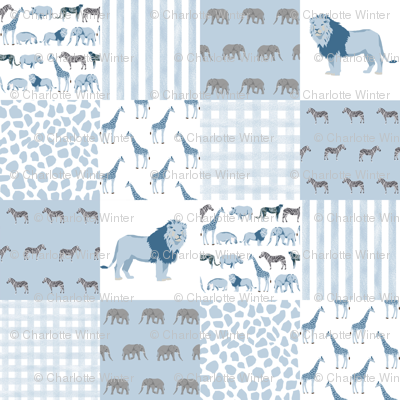safari quilt blue and white lion elephant giraffes wholecloth nursery