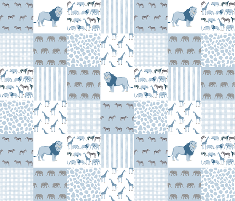 safari quilt blue and white lion elephant giraffes wholecloth nursery  fabric by charlottewinter on Spoonflower - custom fabric