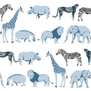 safari coordinates quilt blue and white elephant lion zebra giraffe  animals nursery