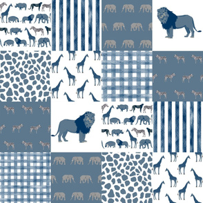 safari quilt medium blue and white lion elephant giraffes wholecloth nursery