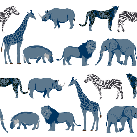 safari coordinates quilt blue and white elephant lion zebra giraffe  animals nursery  fabric by charlottewinter on Spoonflower - custom fabric