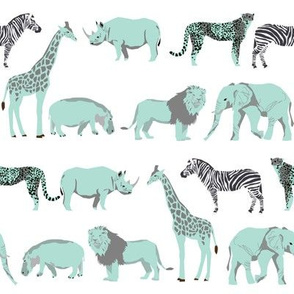 safari coordinates quilt mint and white elephant lion zebra giraffe  animals nursery