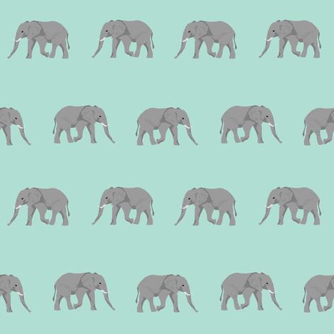 Safari coordinates quilt mint and white elephant animals for Safari fabric for nursery