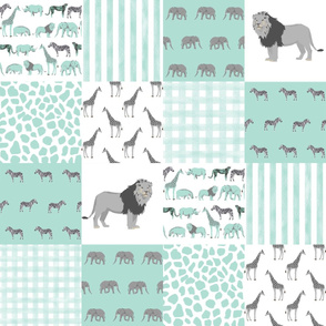 safari quilt mint and white lion elephant giraffes wholecloth nursery