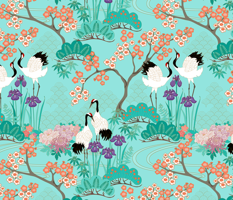 japanese_garden_teal_final fabric by juditgueth on Spoonflower - custom fabric