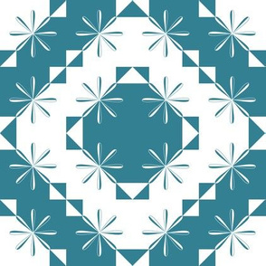 Mosaic Modernism (Floral - Dark Teal Blue)