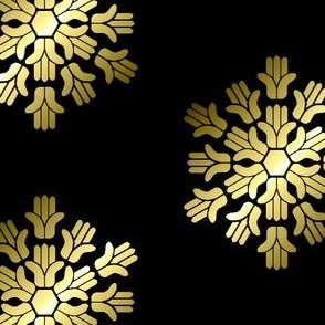 Hamsa, Gold Block Print on Black