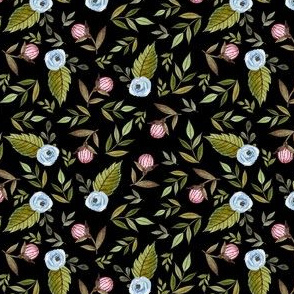 """4"""" Blue and Pink Florals - Black"""