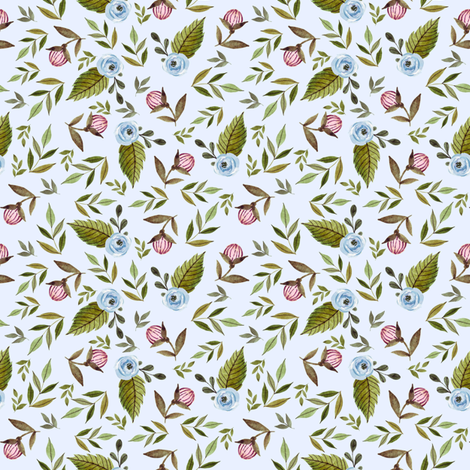"""4"""" Blue and Pink Florals - Blue fabric by shopcabin on Spoonflower - custom fabric"""