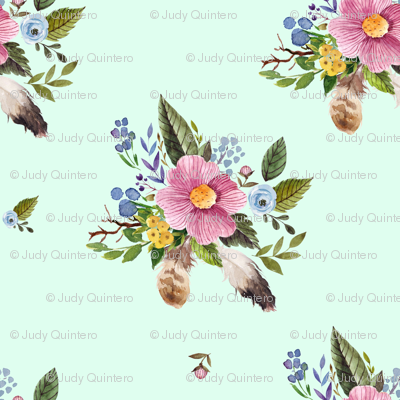"""4"""" Spring Breeze Florals - Minty Green"""
